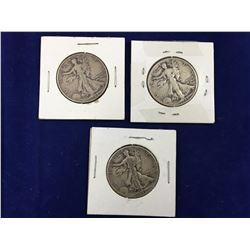 Three US Silver Walking Liberty Half Dollar Coins 1942, 43, 45