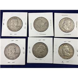 Six US Franklin Silver Half Dollar Coins - 1951, 52, 53, 54, 57, 63