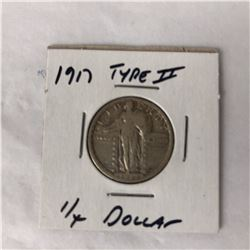 1917 US Standing Liberty Quarter Coin Type II (Fine)