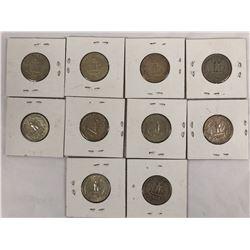 Group of Ten US Silver Quarter Dollar Coins 1941-1964