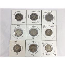 Nine US Barber Silver Quarter Dollar Coins 1893-1915