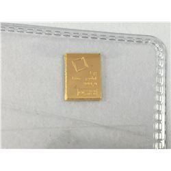1 Gram 9999% Fine Gold Ingot