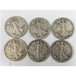 Group of Six US Walking Liberty half Dollar Coins 1941-1945