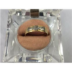 18ct Yellow Gold & White Gold Bridge Band Ring - 17.25 ID - Weight 3.29 Grams