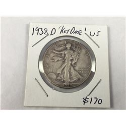 1938D USA Silver Walking Liberty Half Dollar Coin- Scarce higher grade