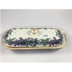 "Antique Copeland ""Herb Garden"" Dressing Table Trinket Box - 210mm Long"