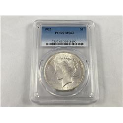 1922 US Silver Peace Dollar - (Uncirculated Grade MS 63)