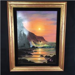 "Original Christian Riese Lassen Paintng Of ""Maui Sunset"" Framed without Glass with Velvet Surround"