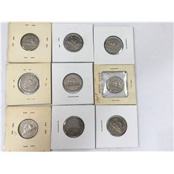 Group of Canadian Five Cent Coins