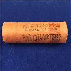 Original Bank Wrapped Roll of US 1954D Silver Quarter Dollar Coins Denver Mint (40 Coins Gem Brillia