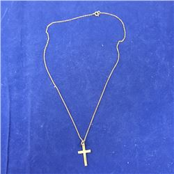 Vintage 9ct Gold Cross Pendant on Chain (Chain untested) Cross Height 23mm