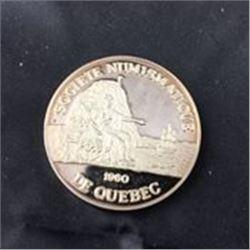 1960 De Québec Société Numismatique Silver 2oz Medallion