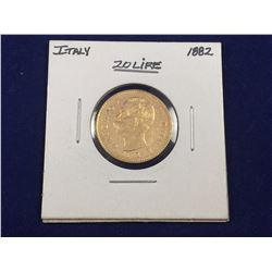 1882 Italy Gold 20 Lire Coin