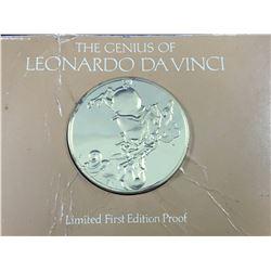 """1974 The Genius Of Leonardo Da Vinci -Limited Edition 1st Edition Proof Silver Coin """"A Dragon Fight"""""""