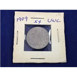 1909 US Liberty Nickel MS60+ Uncirculated Coin