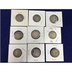 Group of Nine Barber Silver Quarters - 1896, 1897, 1899, 1900S, 1908O, 1909D, 1911, 1914, 1915D