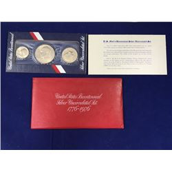 1776 -1976 US Three Piece Silver Coin Bicentennial Carded Set
