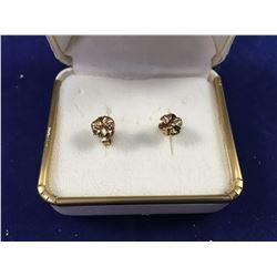 Pair of 9ct Gold Rose Bud Earrings