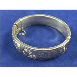 "Vintage Sterling Silver Hollow Engraved Bangle - 55mm x 60mm ID - Engraved on Inside ""To My Darling"