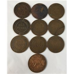 Group of Australian One Penny Coins