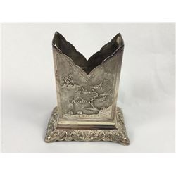 Vintage Vietnam .900 Silver Match Case with Engraved Village Scenes - 75mm Tall - Weight 34.90 Grams