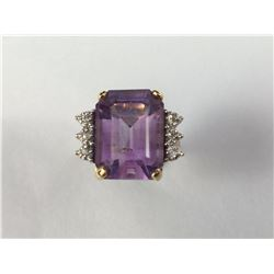 Vintage 10ct Gold Large Amethyst & Diamond Ring - 18mm ID - Weight 6.35 Grams