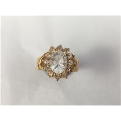 Vintage 10ct Gold Large White Topaz Ring - 18mm ID - Weight 5.30 Grams
