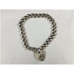 Vintage Sterling Silver (Birmingham) Heart Padlock Bracelet - 200mm Total Length - Weight 19.90 Gram