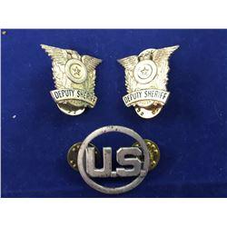 Two Original Deputy Sheriff's Badges & US Marshalls Badge