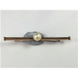 Antique 9ct Gold Brooch with Pearl - Length 54mm - Weight 2.55 Grams