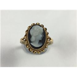 Antique English 9ct Gold Wedgwood Dark Blue Jasperware Cameo Ring - 18mm ID - Weight 3.47 Grams