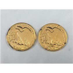 1942 & 1943 Gold Gilt US Liberty Half Dollars (Ex Jewellery Mounts)