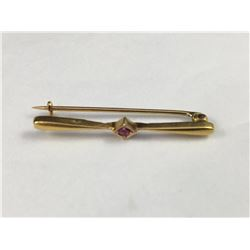 Antique 14ct ( 585 Marked) Bar Brooch with Pink Gem Stone Mounted in Triangle Centre