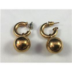 Pair of 9ct Gold Ball & Hoop Earrings - Weight 7.37 Grams