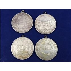 Group of Four Danish 2 Kroner Silver (.800) Coins With Necklace Chain Attachments - Total Coin Weigh