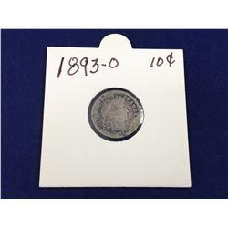 1893O Barber Silver Dime (Key Date)