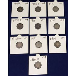 Group of US Barber Silver Dimes - 1901, 1905S, 1907, 1908D, 1908O, 1911D, 1914, 1915, 1916, 1916S