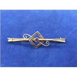 Antique 9ct Gold Bar Brooch With Amethyst - 43mm Long - Weight 1.44 Grams