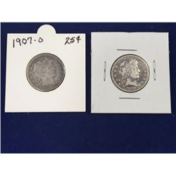 Two US Silver Barber Quarter Dollar Coins - Better Grades - 1899O, 1907O