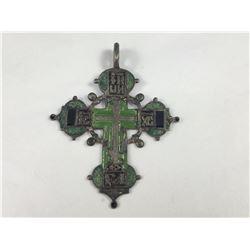 Antique Russian Silver & Enamel Orthodox Cross Icon Pendant - 80mm Long