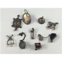 Group of Old Sterling Silver Minature Items Including Trifari Frog