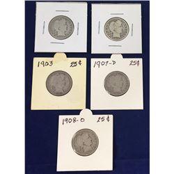Group of Five US Barber Silver Quarters - 1908O, 1903, 1907D, 1980D, 1906D