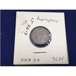 1876 Oscar II Norwegian Silver 25 Ore Coin - High Grade