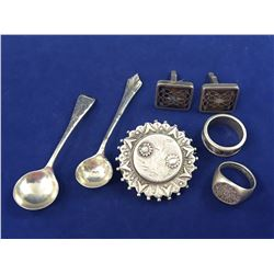 Group of Early Sterling Silver Items Including Salt Spoons - Total Weight 52.60 Grams