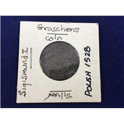 1528 Polish Groschen Sigismund I Silver Coin