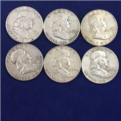 Six US Franklin Half Dollar Silver Coins - 1952, 1954, 1957D, 1958D, 1963D, 1963D