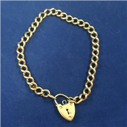 9ct Rose Gold Antique Bracelet with Love Heart Clasp - 210mm Length - Total Weight 20.90 grams