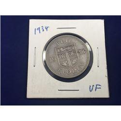 1934 Fiji Silver Florin Coin (VF)