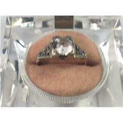 Early 9ct Gold Ring with Sterling Silver Bridge with Large Set White Topaz Stone - 16.75mm ID - Weig