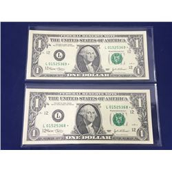 Two Consecutive US Star Replacement One Dollar Banknotes Uncirculated Mint